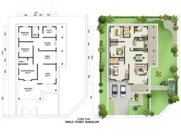 Stunning Floor Plan Single Storey Bungalow Contemporary